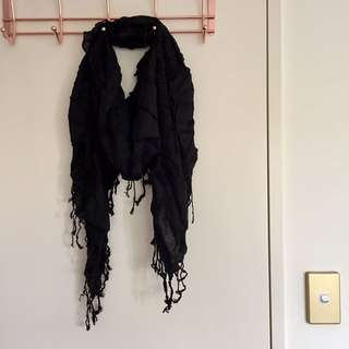Brand New Ruched Scarf In Black