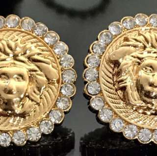 Versace Style Earrings 18kt Gold Plated Cubic Zirconias