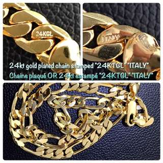 """24"""" 2.5oz ITALY"""" """"24KT"""" 24kt Gold Plated Chain!!"""