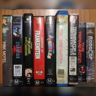 9x RARE Horror VHS Tapes - Terminator, Hammer Frankenstein, Stepfather III