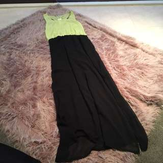 Long Faux Chiffon Dress