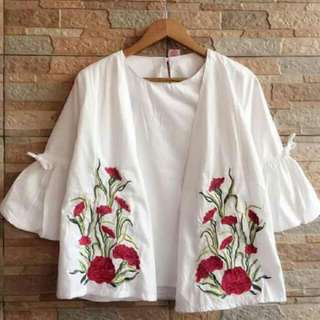 Flowery Top White