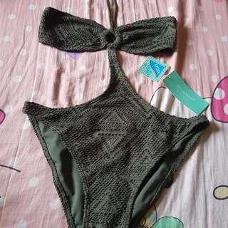 Bikini in Khaki colour with golden threads