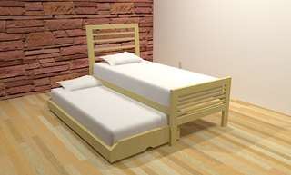 Allellie Natural Trundle Bed Single Size Solid wood Made in Factory Price
