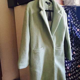 WOMENS CHOIES MINT BOUCLE TEXTURED COAT IN SMALL