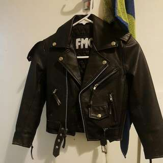 Real Leather Biker Jacket Size 4