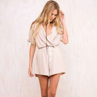 Size S | Princess Polly 'Happy Go Lucky' Beige Playsuit
