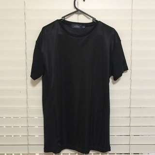 Black Jersey With Mesh Sleeve And Sides T-Shirt