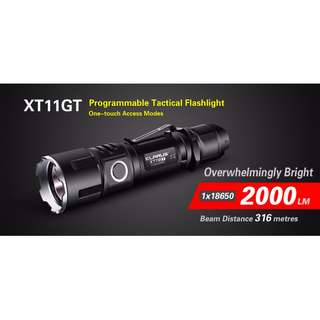 (Free Delivery) Klarus XT11GT XHP-35 HD 2,000 Lumens USB Rechargeable Strobe Ready Flashlight (Includes Rechargeable 18650 Battery)