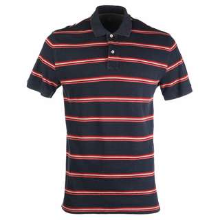 GAP Classic Polo T-Shirt Blue Black with Red and White Stripes Size L