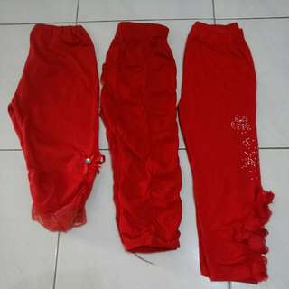 2-4y Girl Red Legging