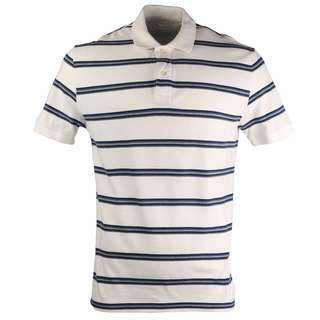 GAP Classic Polo T-Shirt White with Purple and Grey Stripes Size L