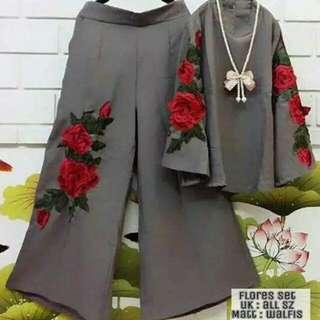 Set Grey Kulot Bunga