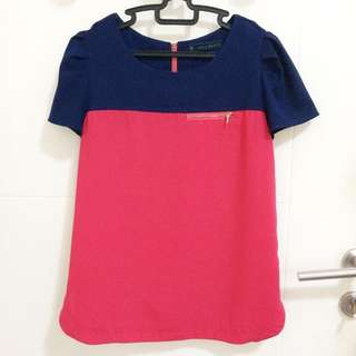 Two Tone Blouse With Fake Zipper