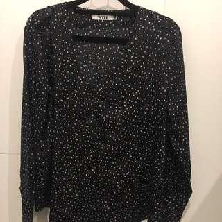 Wite Black Dotty Shirt Size 10