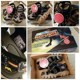 ★全新 Skechers 閃燈魔術貼運動涼鞋仔 Super Hot-Lights 閃燈可開關 連包裝盒 未剪牌