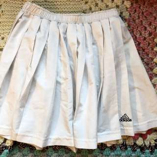 Adidas Pleated White Skirt Preppy Schoolgirl Tennis Skirt 90s