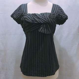 (X)SML Black Pinstripes Top
