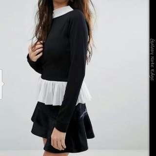 Boohoo Long Sleeve Trim Top Size 12