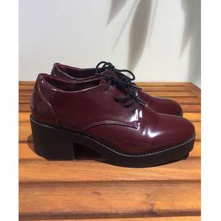 Maroon Lace Up Heel Boots | Size 8