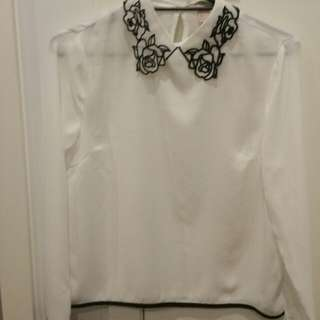 Long Sleeve Blouse With Detailed Collar Size L