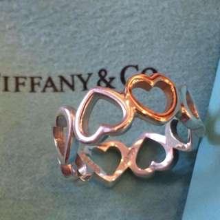 Tiffany 玫瑰金/純銀雙色愛心戒指