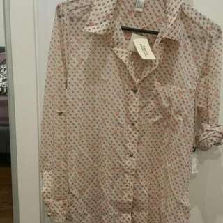 Forever 21 Cream Blouse Size S