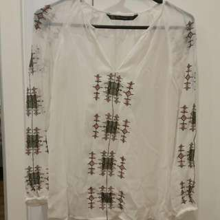Zara Collarless Blouse And Woven Detail Size 8