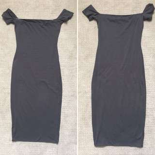 Kookai Charcoal Tight Midi Dress