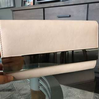 Aldo Nude & Gold Clutch Purse
