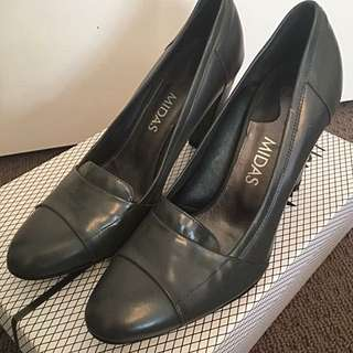 Midas Grey Leather Pumps. Made In Spain RRP$240
