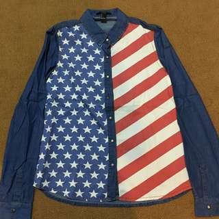 Forever 21 Denim USA Flag Polo!