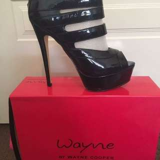 Wayne By Wayne Cooper Heels - CAGE. Midnight Blue Patent Leather. RRP$180