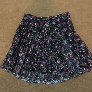 Topshop Floral Pleated Skirt