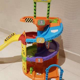Toot Toot Parking Tower Set (including Van Driver) plus 1 additional Police Car (Preloved)