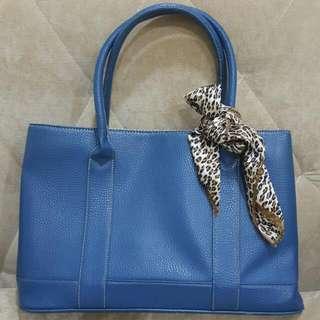 Korean Blue PU Leather Handbag