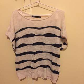 Cream/Navy Knit Top (short Sleeve)