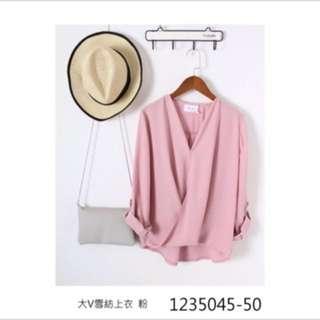 正韓粉色雪紡上衣