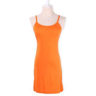 Orange Womens Spaghetti Strap Tank Tops Mini Slip Dress Solid Camisole Mini Dress
