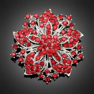 Red Rhinestone Crystal Vintage Flower women wedding Brooch Pin