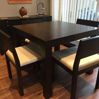 3FT Square Wood Espresso Dining Table with 4 chairs