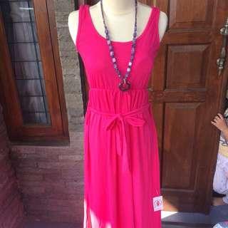 New Maxi Dress Fuchsia Spandek Tebal