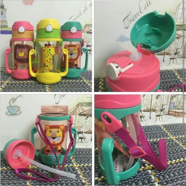 全新可愛動物吸管水杯附背帶 寶寶雙把手學飲杯