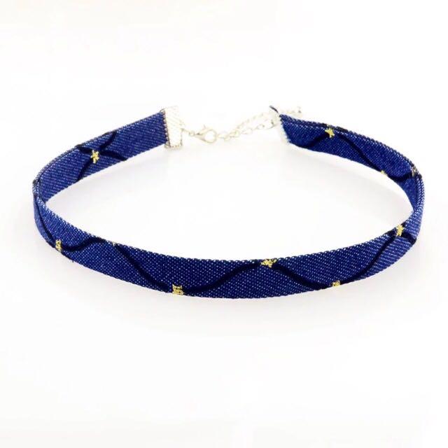 👉🏻 Denim canvas choker necklace