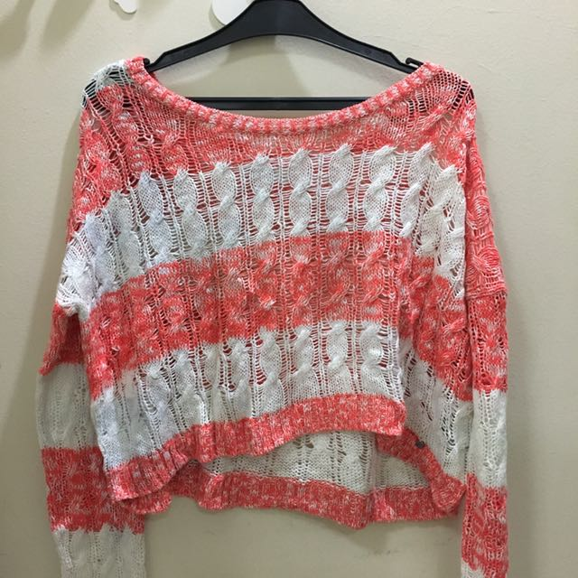 Abercrombie & Fitch Knit Sweater - Pink and White Stripes