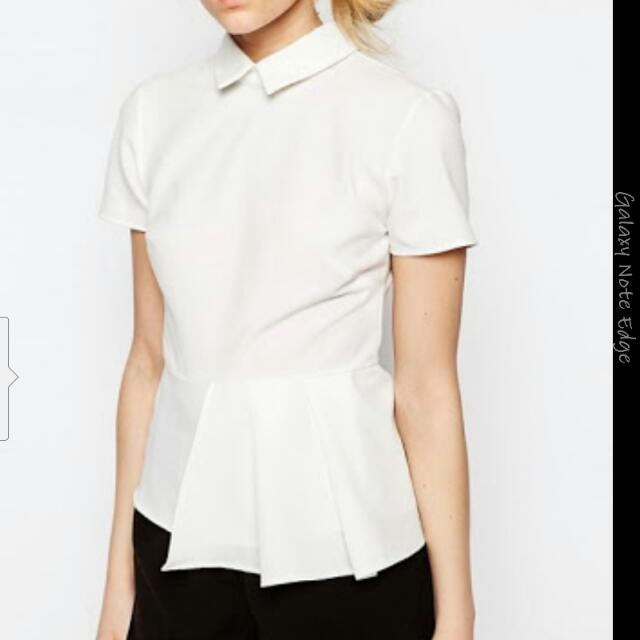 Alter Petite Short Sleeve Collar Top With Hem Detail Size 12