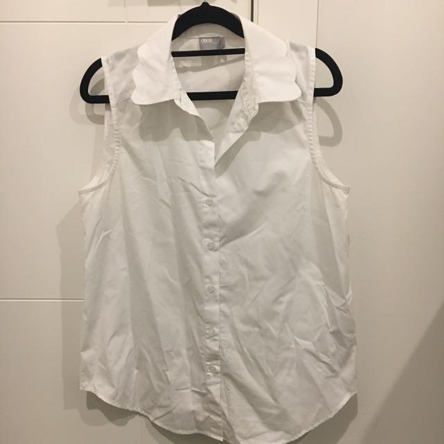 Asos White Sleeveless Shirt