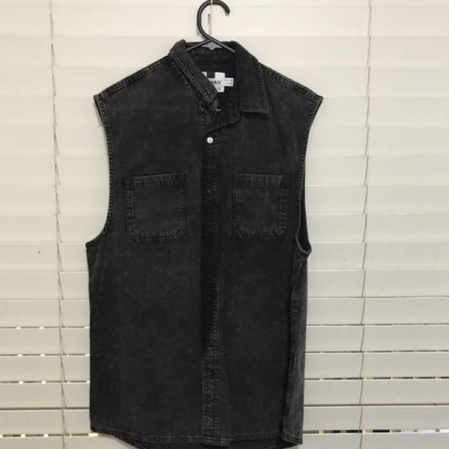 Black Denim Wash Vest