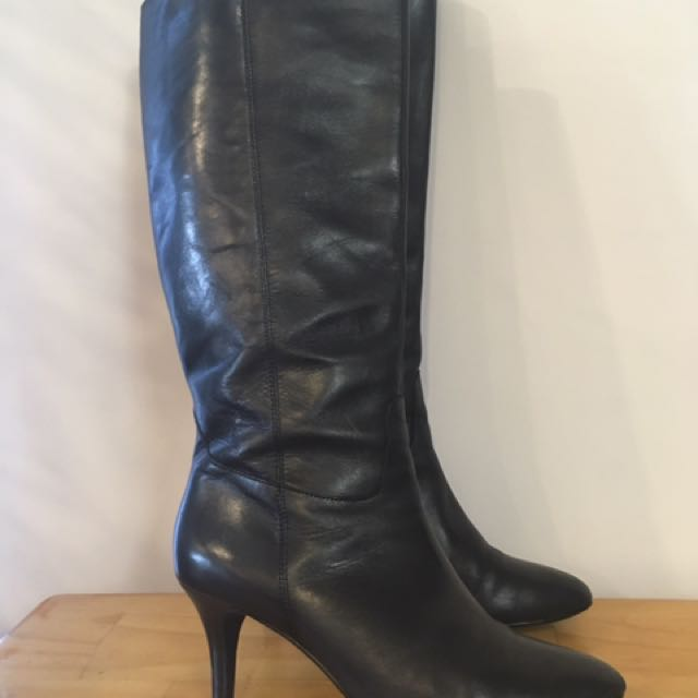 Black Leather Boots Size 9