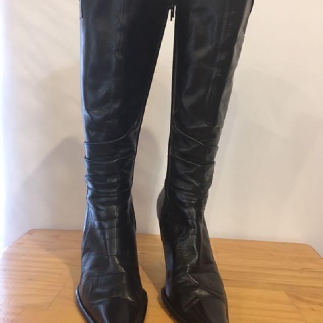 Black Leather Isabella Anselmi Boots Size 91/2